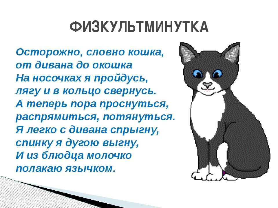 ФИЗКУЛЬТМИНУТКА Осторожно, словно кошка, от дивана до окошка На носочках я пр...