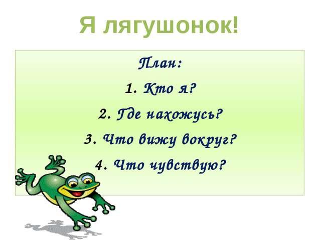 План: Кто я? Где нахожусь? Что вижу вокруг? Что чувствую? Я лягушонок!