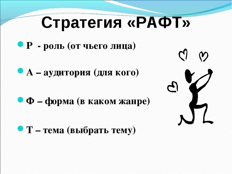 Стратегия «РАФТ» Р - роль (от чьего лица) А – аудитория (для кого) Ф – форма...
