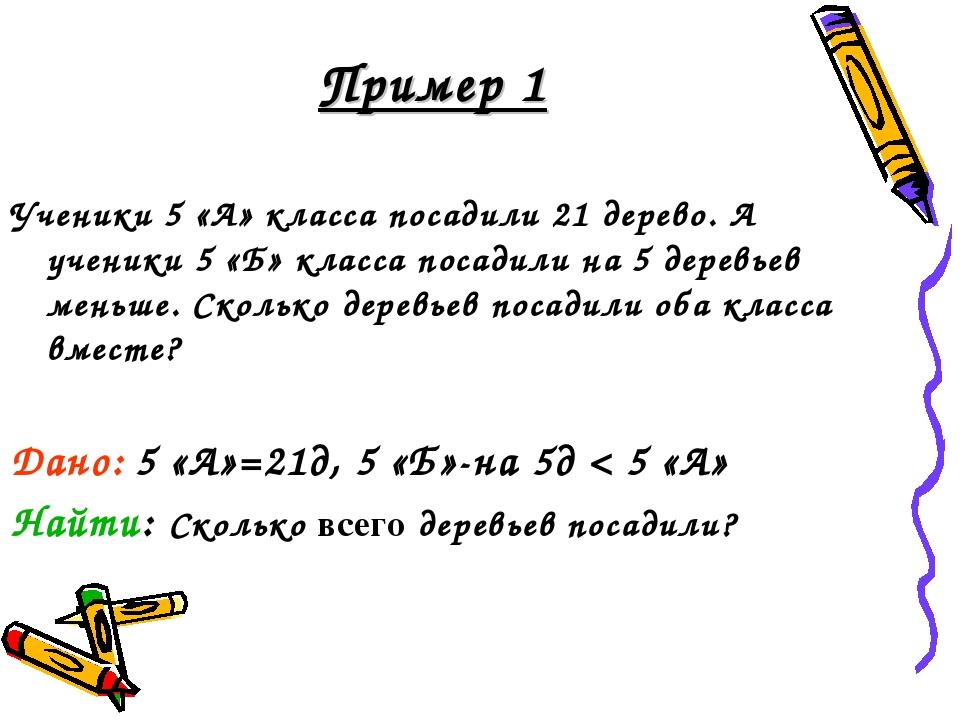 Пример 1 Ученики 5 «А» класса посадили 21 дерево. А ученики 5 «Б» класса поса...