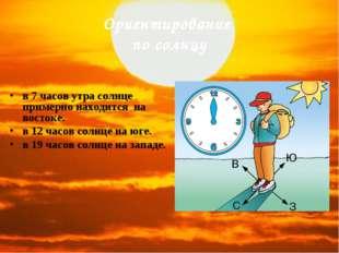 Ориентирование по солнцу в 7 часов утра солнце примерно находится на востоке.