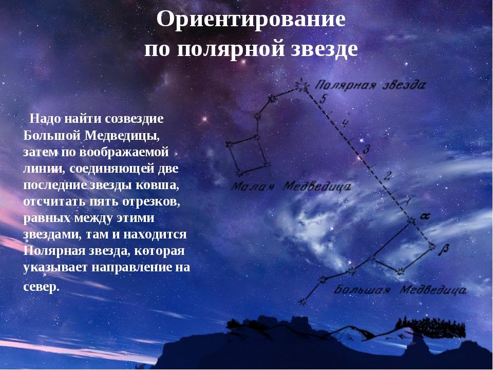 Ориентирование по полярной звезде Надо найти созвездие Большой Медведицы, зат...