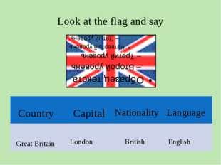 Look at the flag and say Great Britain London British English Country Nationa