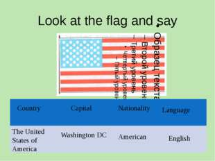 Look at the flag and say The United States of America Washington DC American