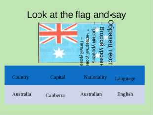 Look at the flag and say Country Capital Nationality Language English Canberr