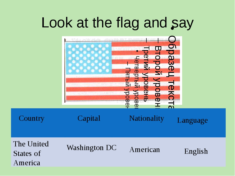Look at the flag and say The United States of America Washington DC American...