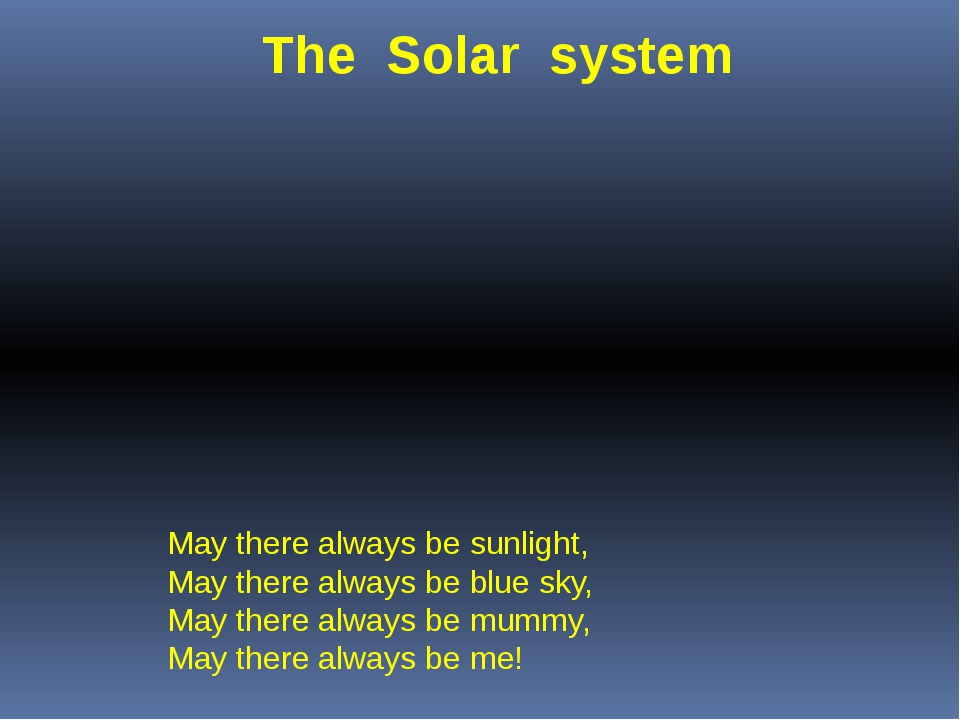 The Solar system May there always be sunlight, May there always be blue sky,...