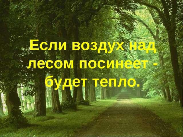 Если воздух над лесом посинеет - будет тепло.