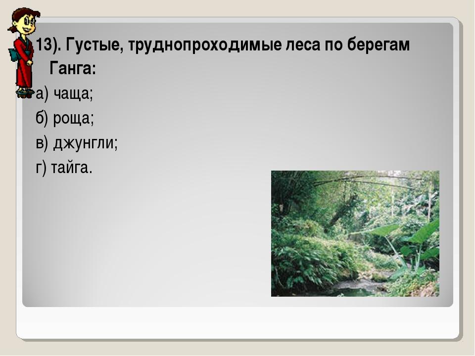 13). Густые, труднопроходимые леса по берегам Ганга: а) чаща; б) роща; в) джу...