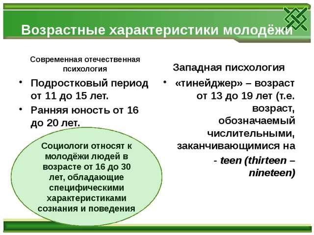 Возрастные характеристики молодёжи Современная отечественная психология Подро...