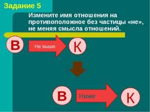 Измените имя отношения на противоположное без частицы «не», не меняя смысла о