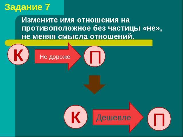 Измените имя отношения на противоположное без частицы «не», не меняя смысла о...