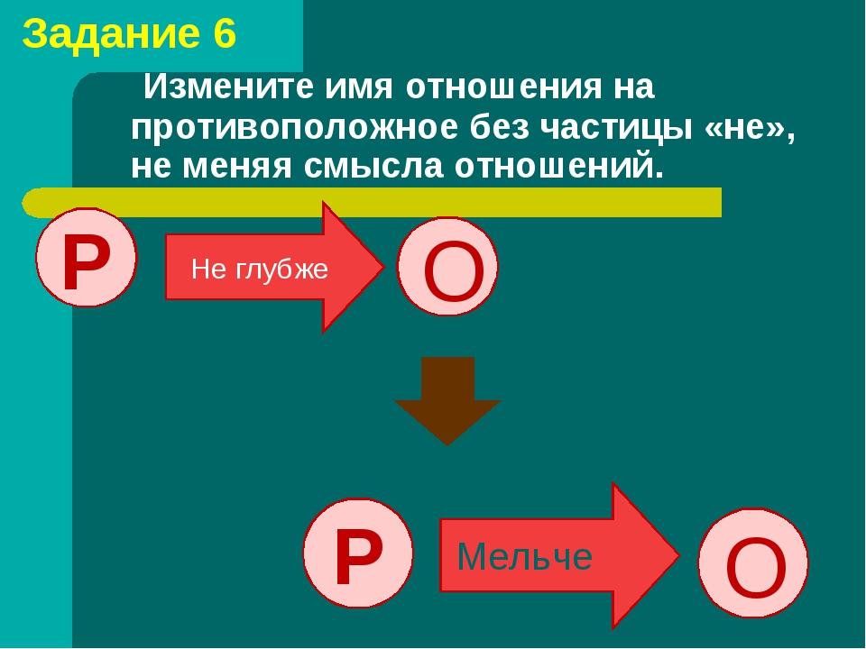 Измените имя отношения на противоположное без частицы «не», не меняя смысла...