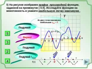 -4 -3 -2 -1 1 2 3 4 5 х 5) На рисунке изображен график производной функции,