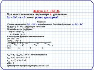 Задача С 5 (ЕГЭ). При каких значениях параметра а уравнение 5x3 – 3x5 - а =