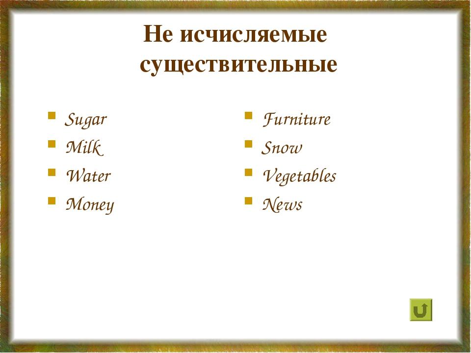 Не исчисляемые существительные Sugar Milk Water Money Furniture Snow Vegetabl...