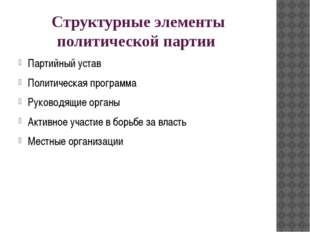 Структурные элементы политической партии Партийный устав Политическая програм