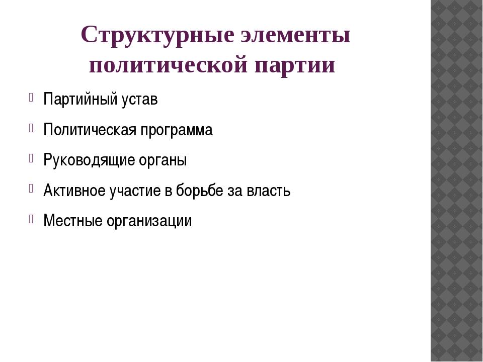 Структурные элементы политической партии Партийный устав Политическая програм...