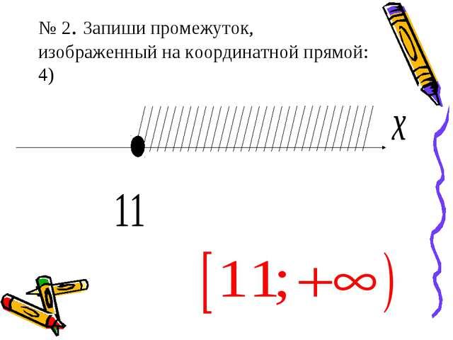 № 2. Запиши промежуток, изображенный на координатной прямой: 4)