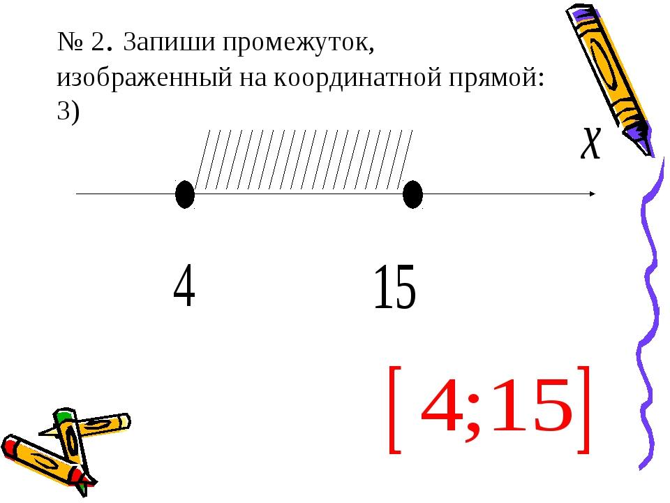 № 2. Запиши промежуток, изображенный на координатной прямой: 3)
