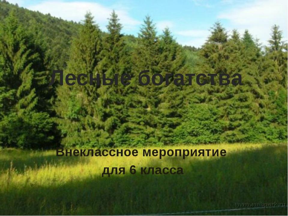 Лесные богатства Внеклассное мероприятие для 6 класса