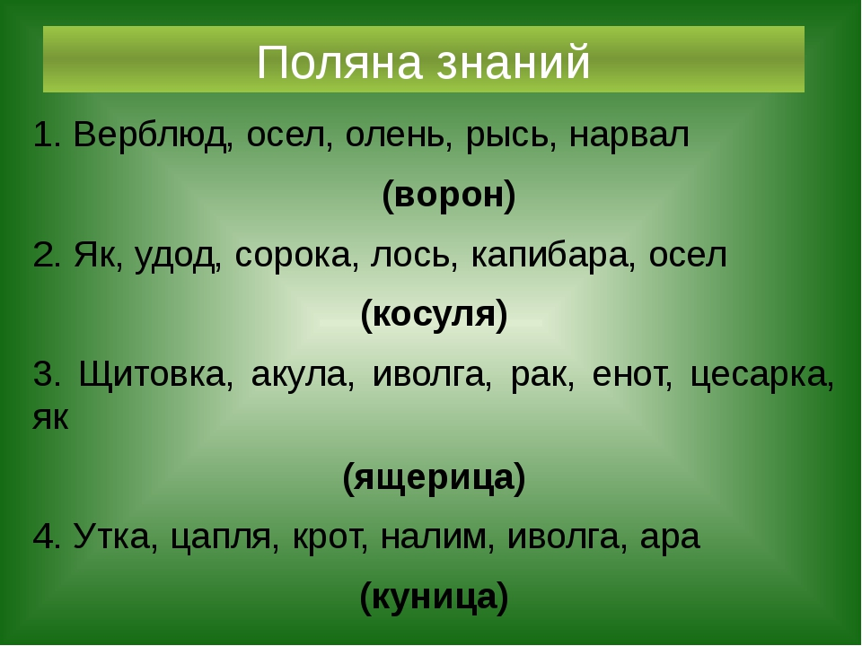 Поляна знаний 1. Верблюд, осел, олень, рысь, нарвал (ворон) 2. Як, удод, соро...
