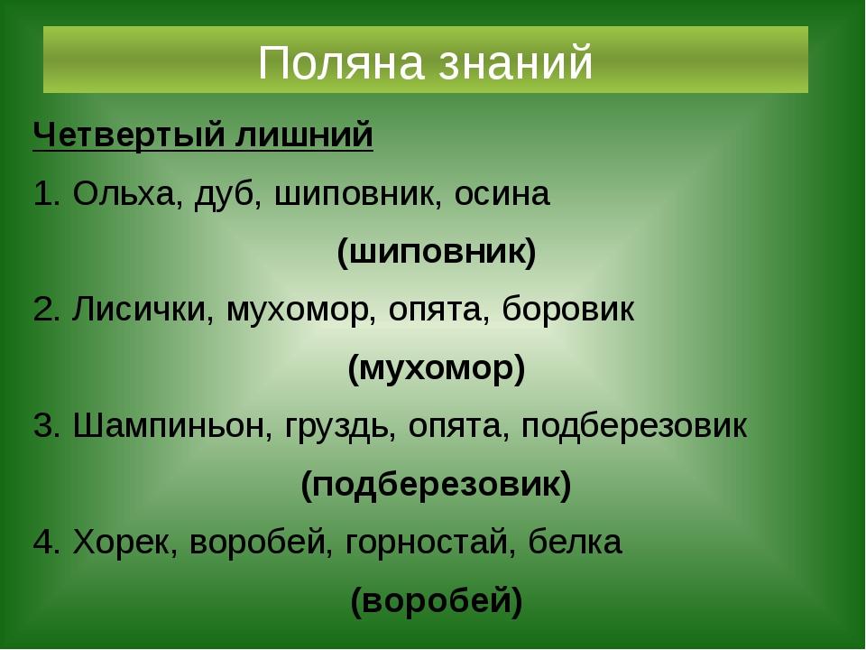Поляна знаний Четвертый лишний 1. Ольха, дуб, шиповник, осина (шиповник) 2. Л...