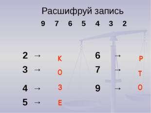 Расшифруй запись  Е К О Р О З Т 9 7 6 5 4 3 2 2→ 6 → 3→ 7 → 4→ 9 → 5→