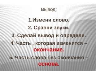 Вывод: 1.Измени слово. 2. Сравни звуки. 3. Сделай вывод и определи. 4. Часть