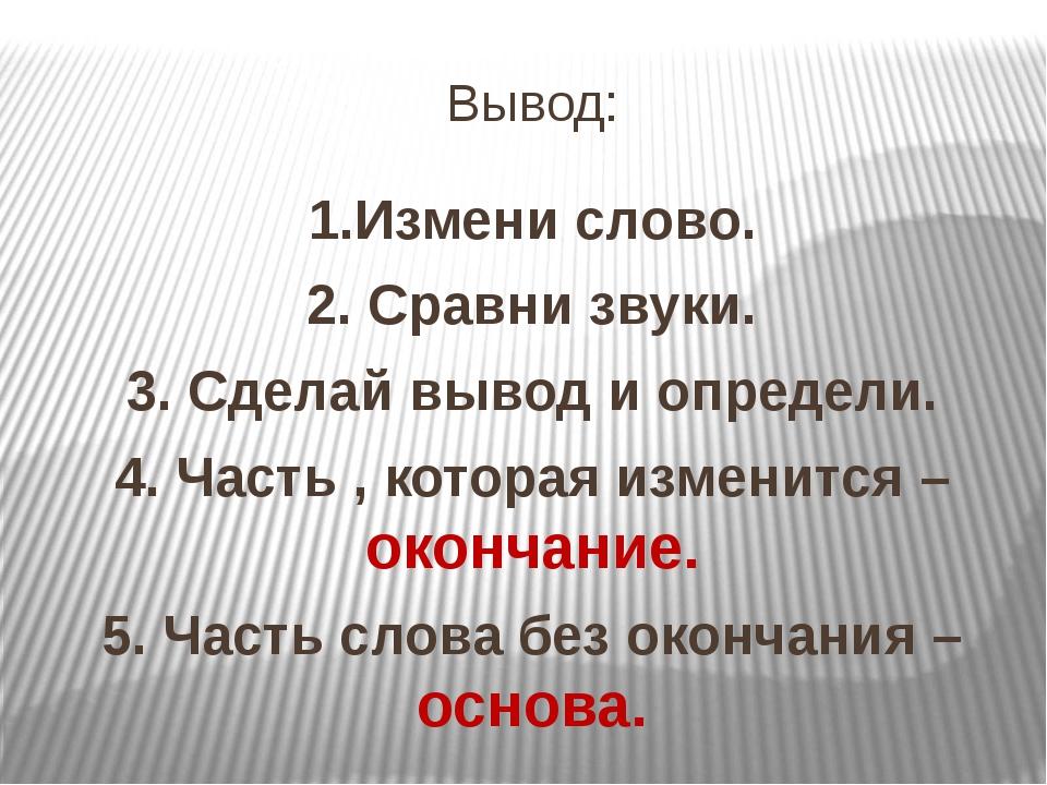 Вывод: 1.Измени слово. 2. Сравни звуки. 3. Сделай вывод и определи. 4. Часть...