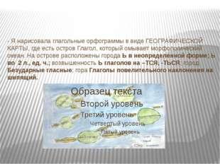 - Я нарисовала глагольные орфограммы в виде ГЕОГРАФИЧЕСКОЙ КАРТЫ, где есть о
