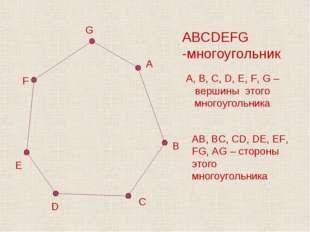 D C ABCDEFG -многоугольник A, B, C, D, E, F, G – вершины этого многоугольника