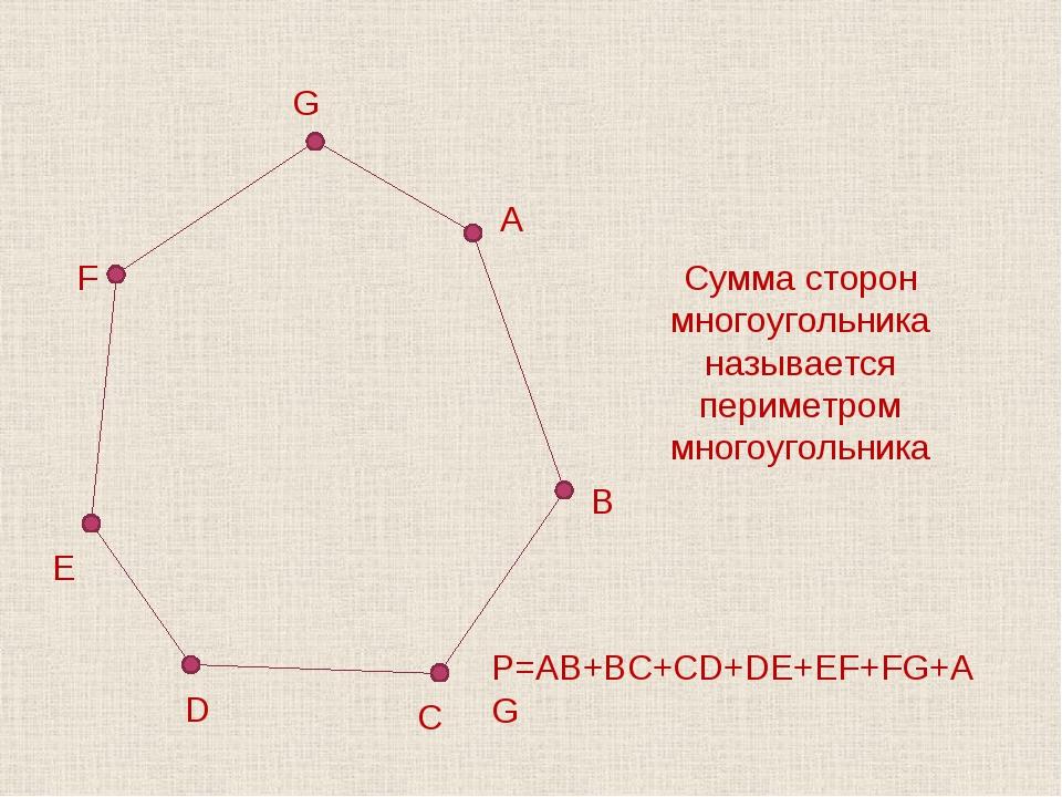 Сумма сторон многоугольника называется периметром многоугольника P=AB+BC+CD+D...