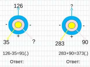 126-35=91(.) 283+90=373(.) Ответ: Ответ: 126 35 ? ? 90 283 - - + - - +