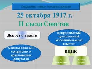 Создание новых органов власти Декрет о власти Советы рабочих, солдатских и кр