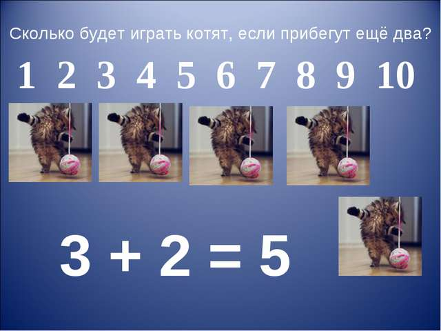 Сколько будет играть котят, если прибегут ещё два? 3 + 2 = 5 1 2 3 4 5 6 7 8...