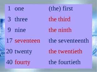 1one(the) first 3threethe third 9ninethe ninth 17seventeenthe sevente
