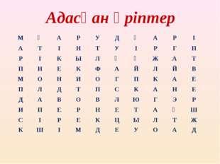 Адасқан әріптер МӘАРУДҚАРІ АТІНТУІРГП РІКЫЛҚҰЖАТ П