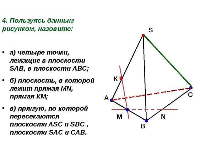 4. Пользуясь данным рисунком, назовите: а) четыре точки, лежащие в плоскости...