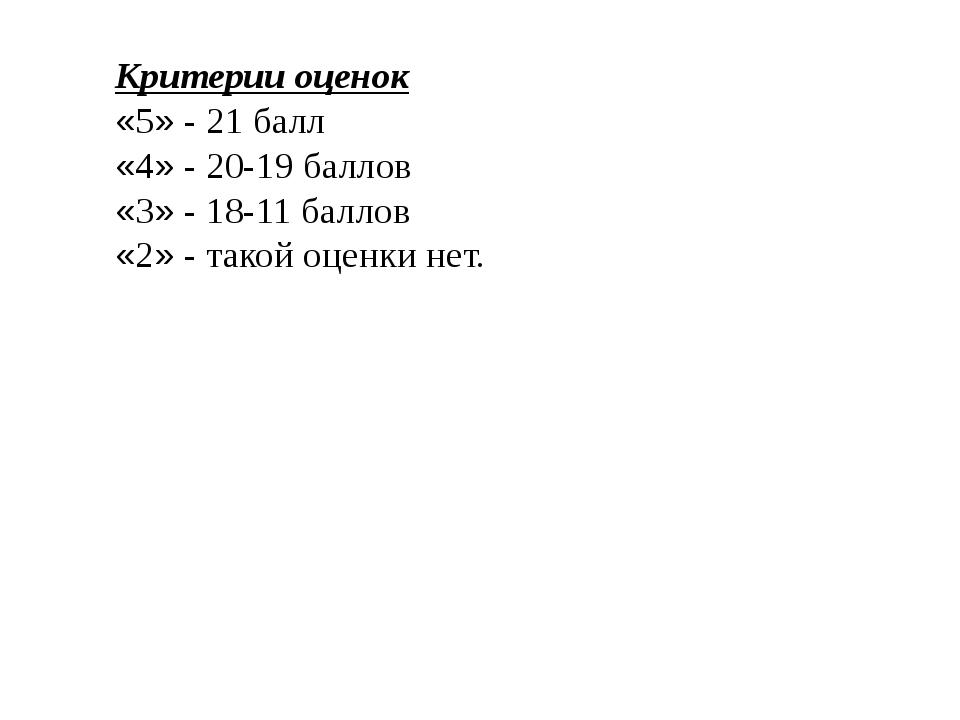 Критерии оценок «5» - 21 балл «4» - 20-19 баллов «3» - 18-11 баллов «2» - та...