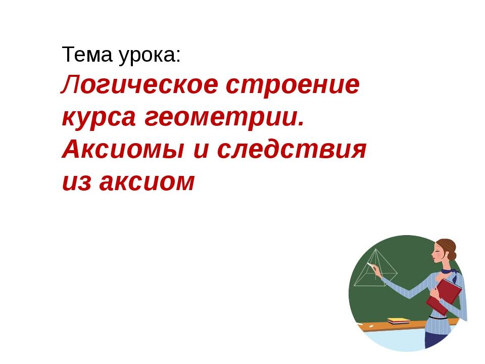 Тема урока: Логическое строение курса геометрии. Аксиомы и следствия из аксиом