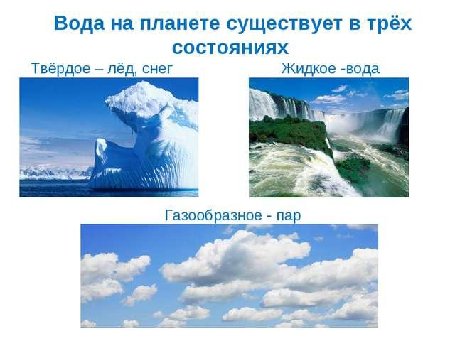 Вода на планете существует в трёх состояниях Газообразное - пар Твёрдое – лёд...
