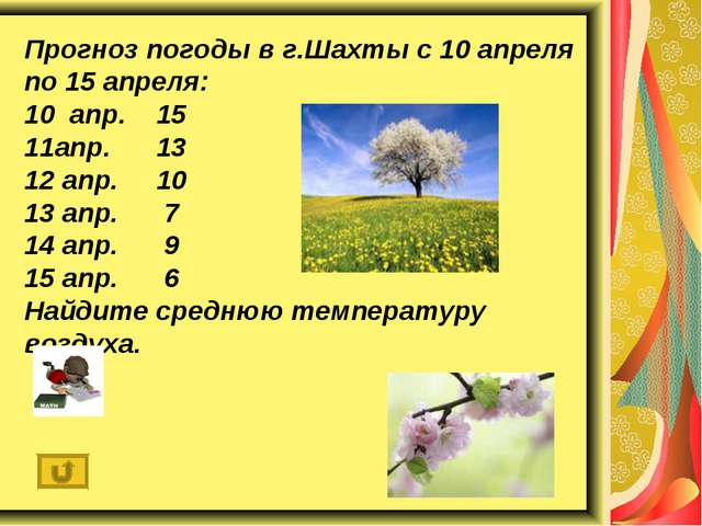Прогноз погоды в г.Шахты с 10 апреля по 15 апреля: 10 апр. 15 11апр. 13 12 ап...
