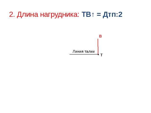 2. Длина нагрудника: ТВ↑ = Дтп:2 Т Линия талии В