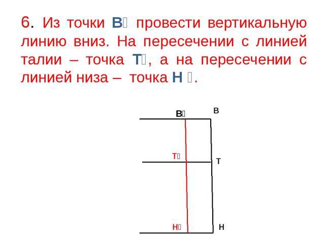 6. Из точки В₁ провести вертикальную линию вниз. На пересечении с линией тали...