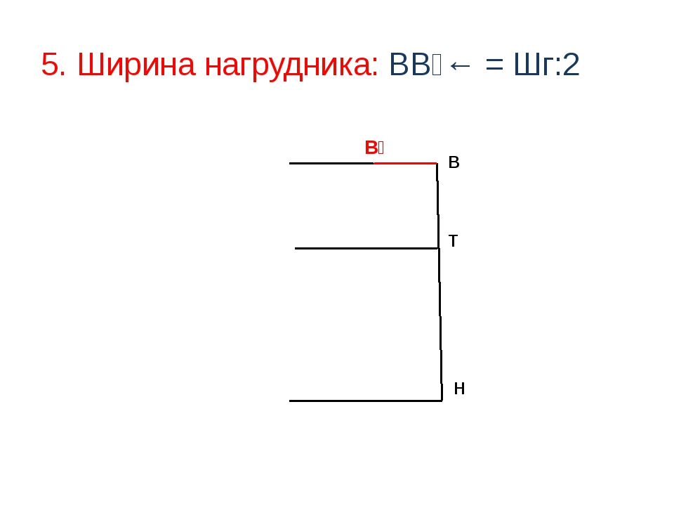 5. Ширина нагрудника: ВВ₁← = Шг:2 Т В Н В₁