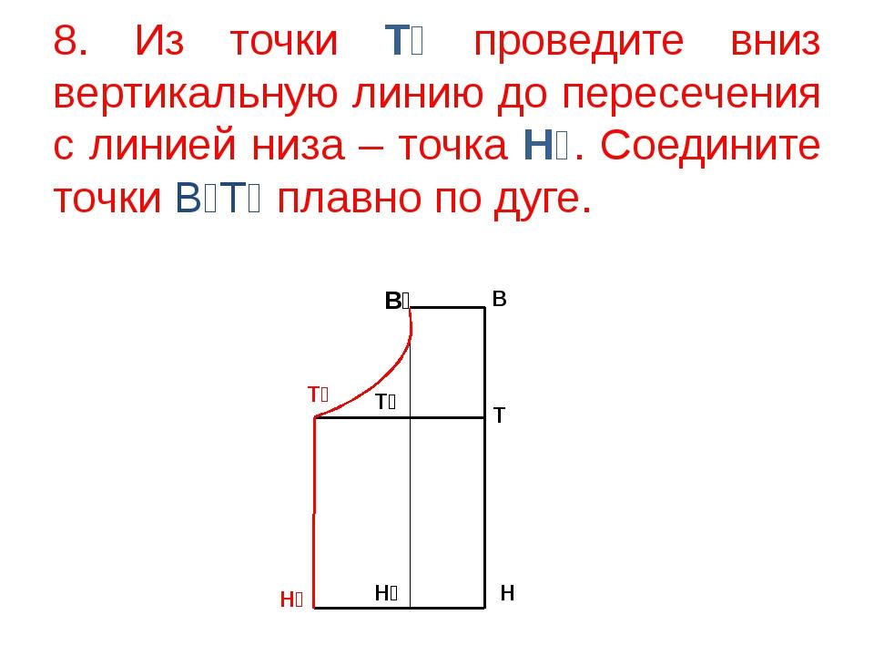 8. Из точки Т₂ проведите вниз вертикальную линию до пересечения с линией низа...