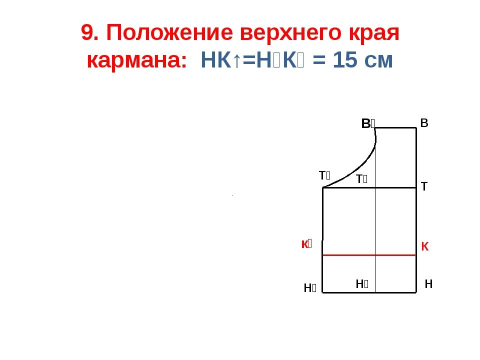 9. Положение верхнего края кармана: НК↑=Н₂К₁ = 15 см К к₁ Т В Н В₁ Т₁ Н₁ Т₂ Н₂