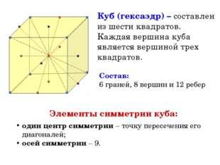 Куб (гексаэдр) – составлен из шести квадратов. Каждая вершина куба является в