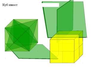 Куб имеет 9 плоскостей симметрии «Геометрия 10-11» Л.С. Атанасян и др.